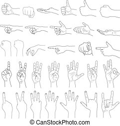 gestuser, hånd