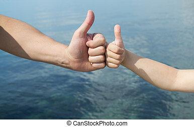 gesty, pokaz, ręka