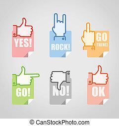 gesty, różny, komplet, ikony