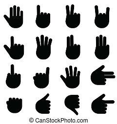 gesty, różny, ręka