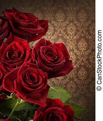 gestyleerd, bouquet., rozen, rood, ouderwetse