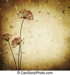 gestyleerd, floral, border., ontwerp, ouderwetse