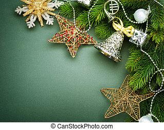 gestyleerd, grens, kerstmis, ouderwetse , design.