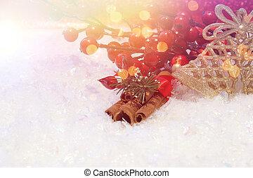 gestyleerd, kerstmis, achtergrond, retro