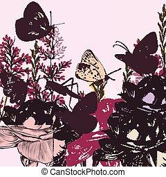 gestyleerd, retro, vlinder, achtergrond, rozen, flora
