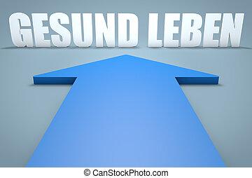 Gesund leben - german word for healthy living - 3d render...