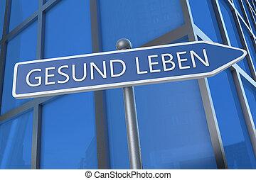 Gesund leben - german word for living well - illustration...