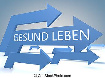 Gesund leben - german word for living well - render concept...