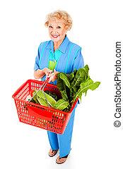 gesunde, älter, dame, käufer