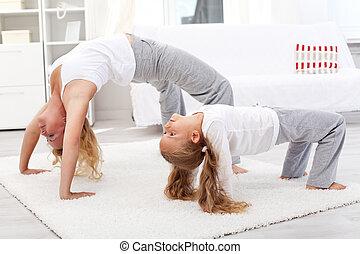 gesunde, übungen, daheim, gymnastisch, leute