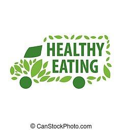 gesunde, auslieferung, vektor, essende, logo