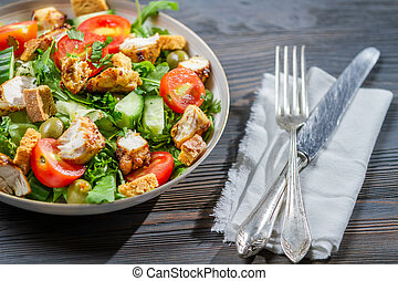 gesunde, bereit, essen, salat