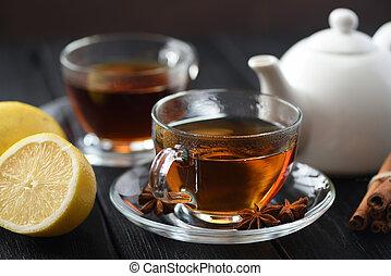 Honig Becher Hölzern Tee Dunkel Glas Fruechte Hintergrund