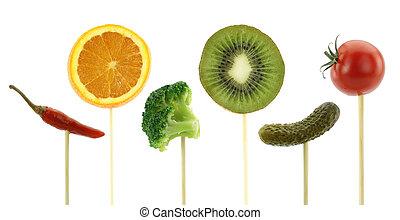 gesunde, concept., essende, gemuese, früchte