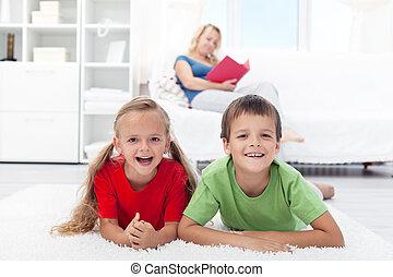gesunde, daheim, kinder, glücklich