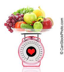 gesunde, eating., kueche , skala, mit, früchte gemüse