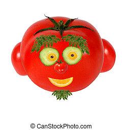 gesunde, eating., lustiges gesicht, gemacht, von, gemuese, und, früchte