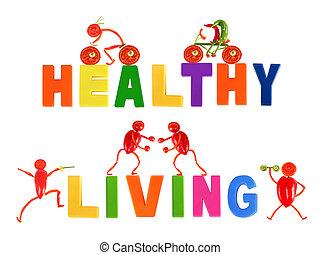 gesunde, eating., wenig, lustige leute, gemacht, von, gemuese