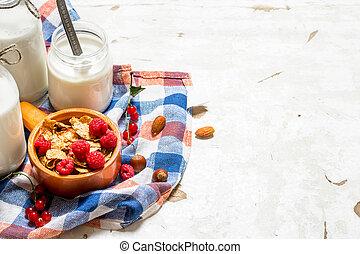 gesunde, essen., berries., wald, wild, muesli