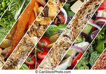 gesunde, essen, collage