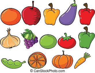 gesunde, früchte gemüse
