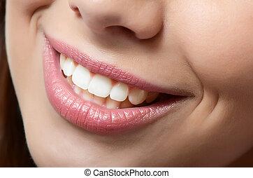 gesunde frau, z�hne, und, lächeln