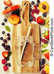 gesunde, frisch, smoothies, begriff, bestandteile