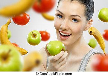 gesunde, fruechte, essende