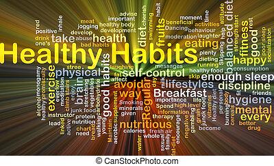 gesunde, glühen, begriff, gewohnheiten, hintergrund