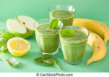 gesunde, grün, spinat, smoothie, mit, apfel, zitrone, banane