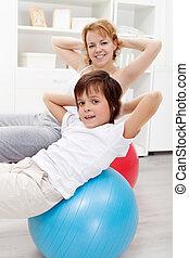 gesunde, heim leben, -, trainieren