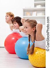 gesunde, kinder, trainieren, glücklich