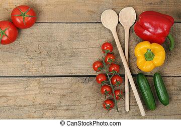 gesunde, kochen, mit, frische gemüse, bestandteile