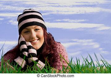 gesunde, lächelnde frau, junger, glücklich