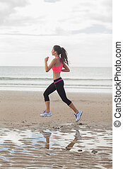 gesunde, länge, voll, jogg, frau