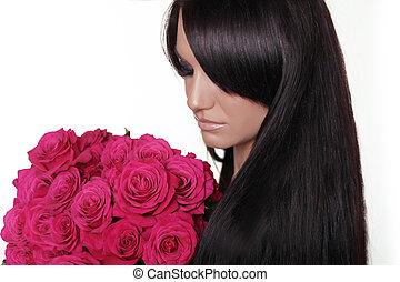 gesunde, langer, hair., brünett, frau, mit, franse, besitz, rosa, strauß rosen, freigestellt, weiß, hintergrund., hairstyle.