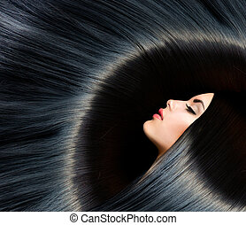 gesunde, langer, schwarz, hair., schoenheit, brünett, frau