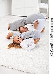 gesunde, leben, -, frau, und, kleines mädchen, machen, gymnastische übung