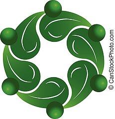 gesunde, logo, gemeinschaftsarbeit, leute