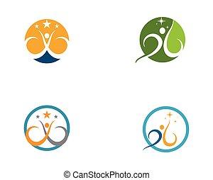 gesunde, logo, leben, vektor, schablone