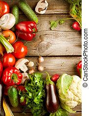 gesunde, organische , gemuese, auf, a, holz, hintergrund