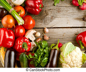 gesunde, organische , gemuese, auf, der, hölzern, hintergrund