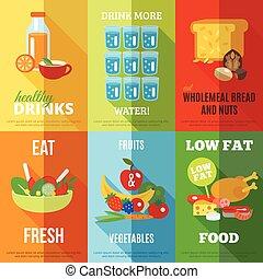 gesunde, plakat, satz, essende