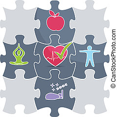 gesunde, puzzel, lebensstil