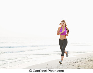 gesunde, rennender , frau, sandstrand, junger