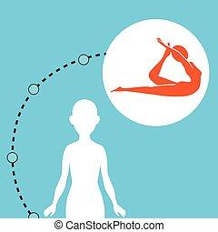 gesunde, silhouette, frau, joga