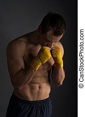 gesunde, sport, mann, training., haben, verband, auf, beide, hände