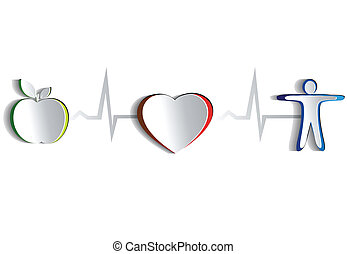gesunde, symbole, lebensstil