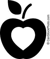 gesunde, wohnung, icon., essende, design.