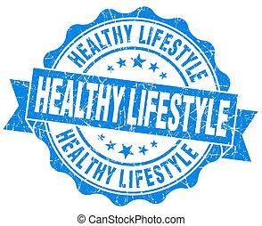 gesunder lebensstil, blaues, grunge, siegel, freigestellt,...